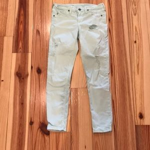 Distressed Mint Colored Jean